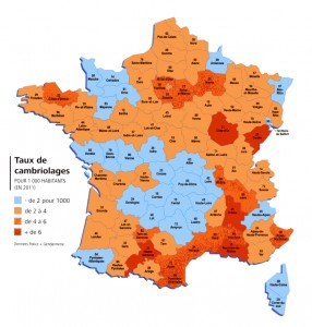 Carte du taux de cambriolages en 2011