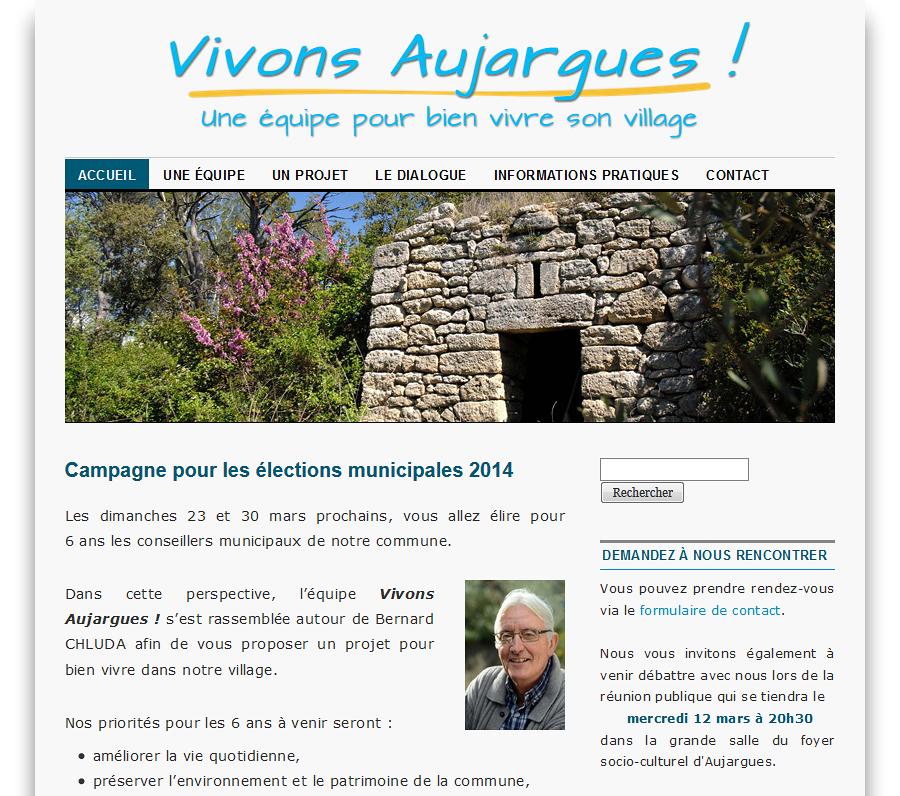 Capture d'écran du site Vivons Aujargues !